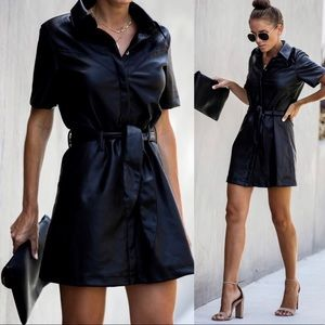 Vici In With The Bold Faux Leather Tie Dress New